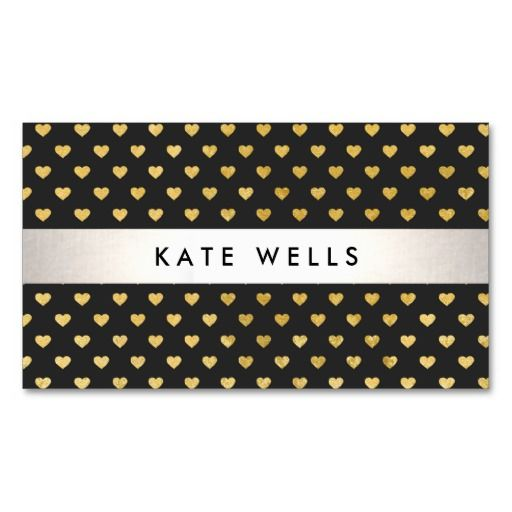 Cute modern beauty black and gold heart pattern business card fun unique profile and networking businesscards fully customizable and ready to order customizable business cards cheap business cards cool business reheart Images
