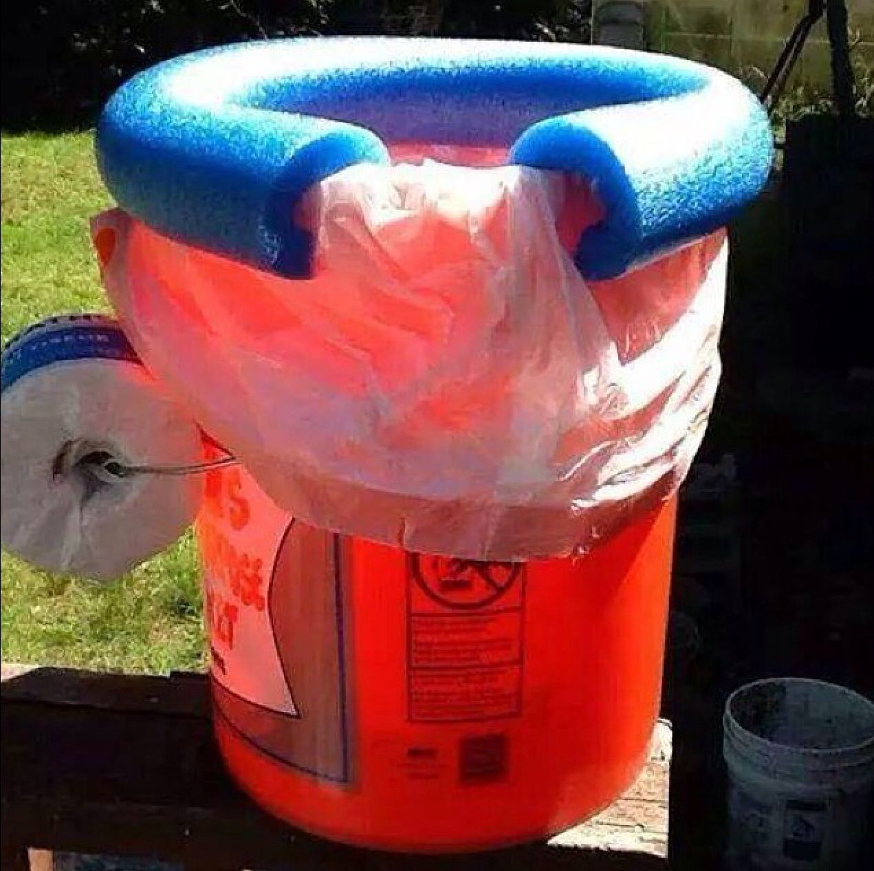 Home Made Portable Toilet Made With A 5 Gallon Bucket A Trash Bag And A Pool Noodle Diy Camping Camping Toilet Travel Potty
