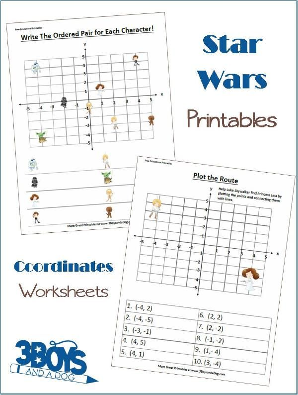 Star Wars Fun Coordinates Worksheets – Free Math Worksheets for Middle School