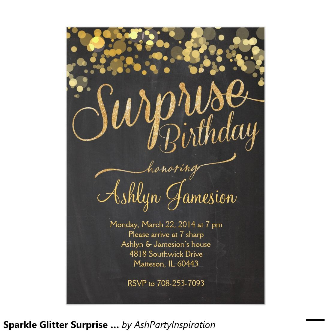 Sparkle Glitter Surprise Birthday Invitation | Surprise birthday ...
