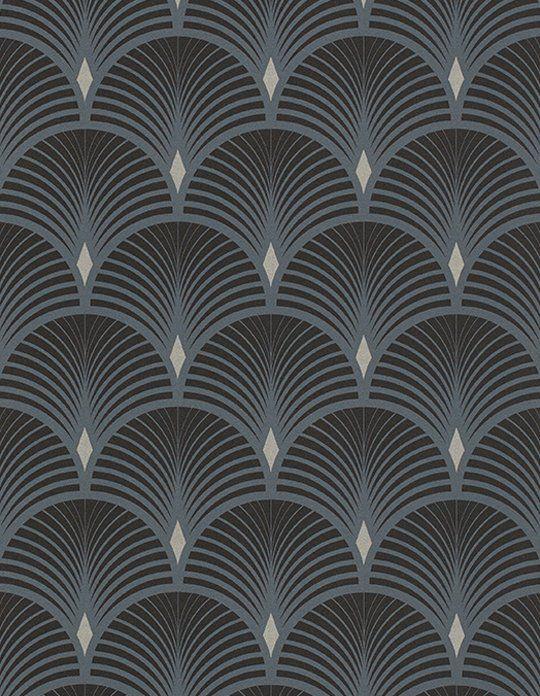 Papier Peint Baker Vinyle Sur Intiss 233 Graphique Bleu Et