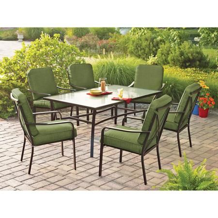 Mainstays Crossman 7-Piece Patio Dining Set, Green, Seats 6 ...