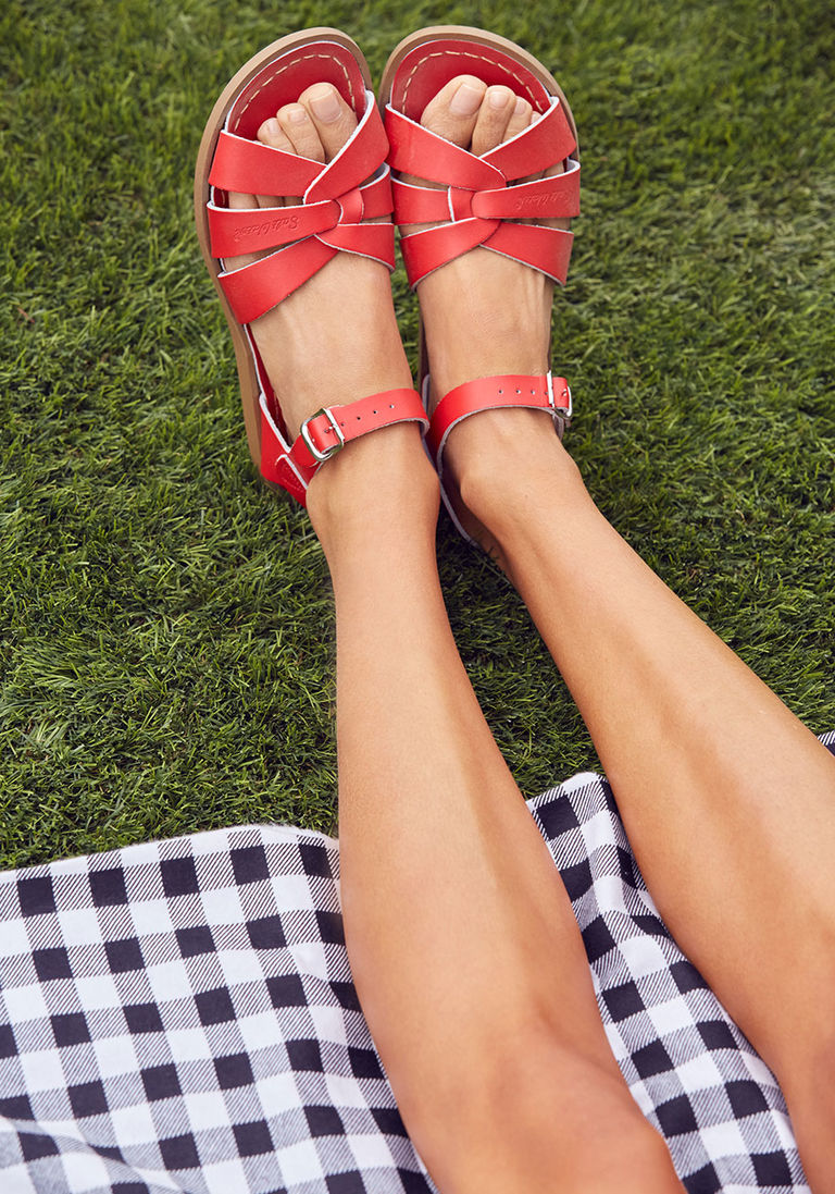 Salt Water Leather Sandal in Red