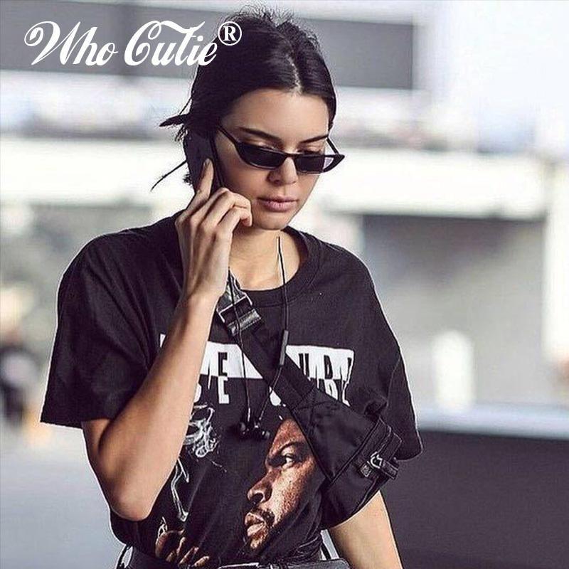 WHO CUTIE 2018 Women Vintage Small Rectangle Sunglasses Kendall Jenner  Rectangular Frame Black Cat Eye Oculos 9e285f5d10