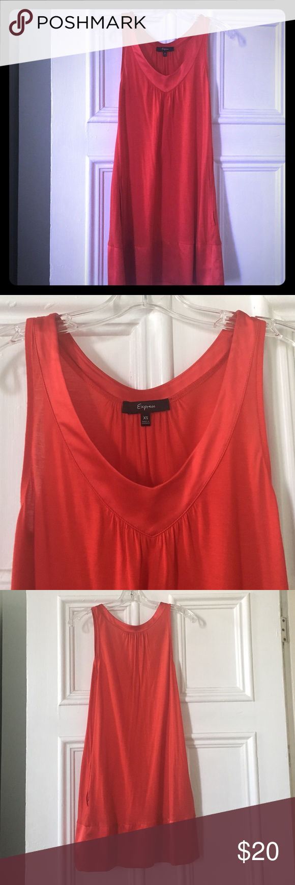 "Soft red dress with pockets! This dress was worn once to a bachelorette party! It is in perfect condition!It is super soft with a satin lining and pockets! I am 5'3"" and it was about two inches above the knees. Great for any occasion! Express Dresses Mini"