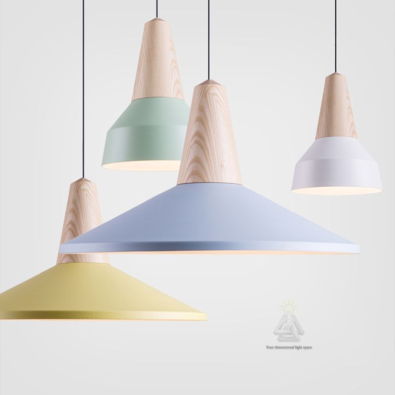 Simple Modern Pendant Light Solid Wood And Aluminum Lamp Colorful
