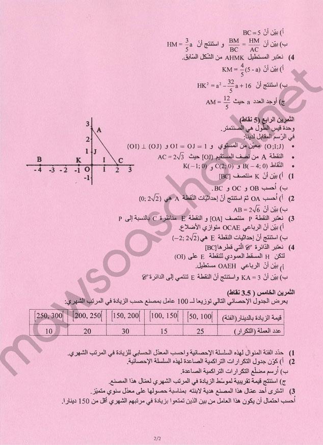 اختبار مادة الرياضيات تاسعة أساسي عام دورة جوان 2019 موسوعة سكوول المرحلة الإعدادية Mawsoa School College Math K 1 Bullet Journal