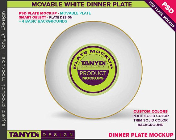 Dinner Plate Photoshop Mockup P6-1 | White Movable Plate with Gold & Custom color Trim | 8 Styled JPG Scenes | PNG Plates
