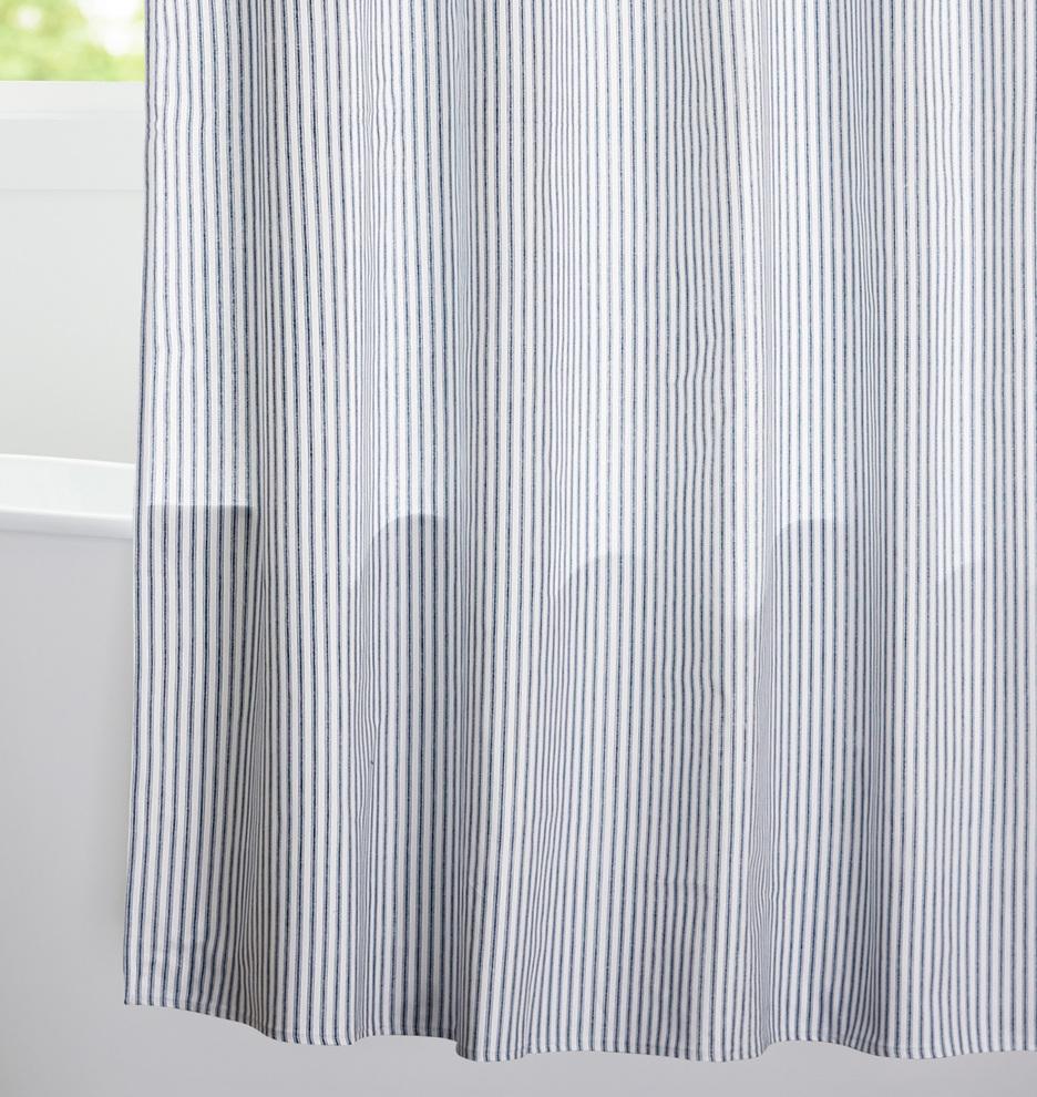 Blue Ticking Cotton Duck Cloth Shower Curtain Rejuvenation