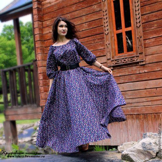 e9da298b65d Платья ручной работы. Ярмарка Мастеров - ручная работа. Купить Пышное платье  насыщенно-синего цвета в мелкий цветочек. Handmade.