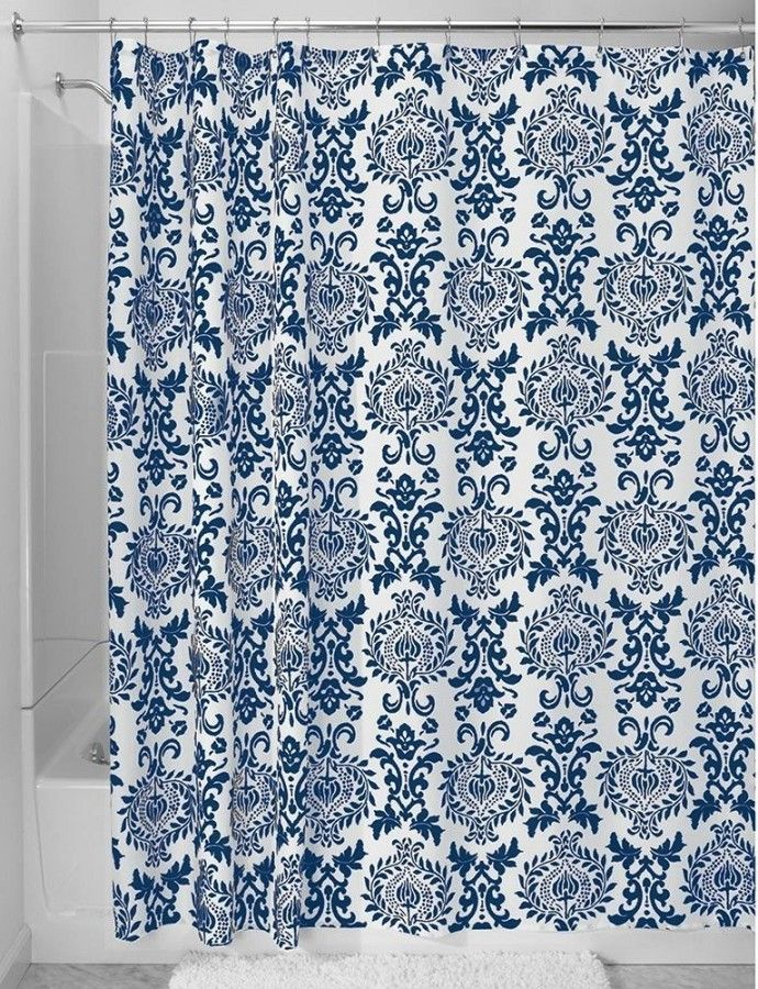 Outstanding White And Navy Blue Floral Patterned Shower Curtain