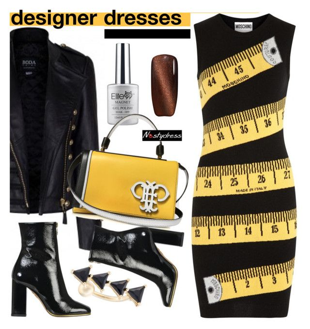 """""""yellow and black"""" by paculi ❤ liked on Polyvore featuring Charlotte Olympia, Emilio Pucci, Moschino and nastydress"""