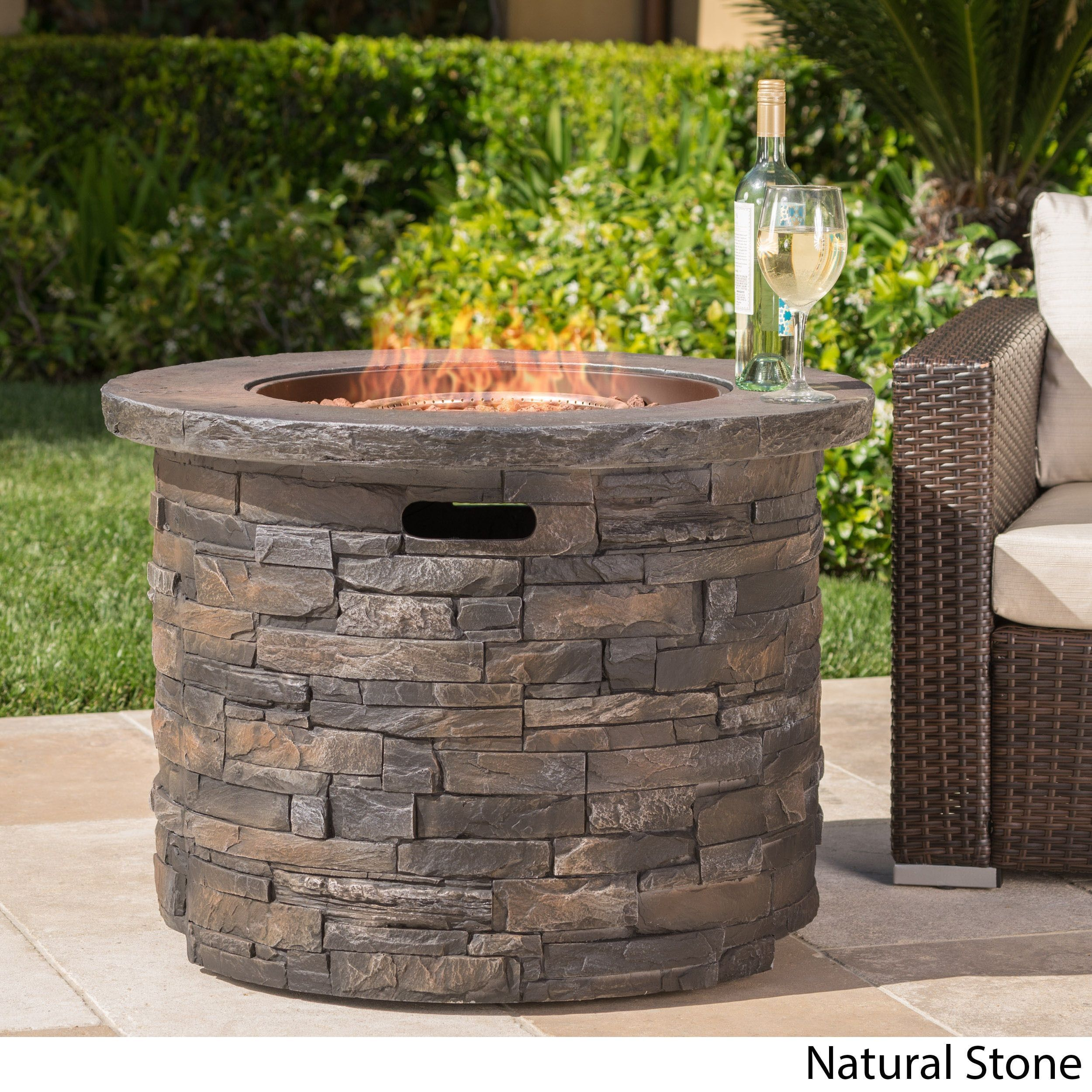 Blaeberry Outdoor Natural Stone Propane Fire Pit With Lava Rocks By