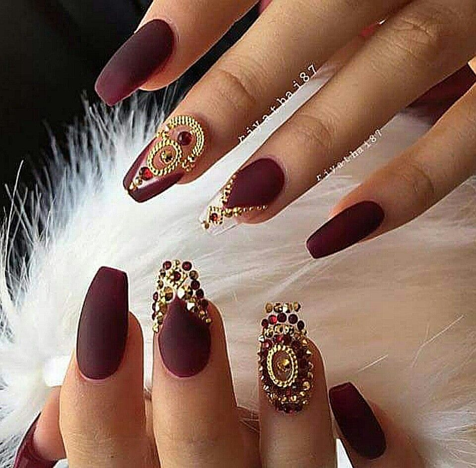 Maroon Jeweled Nails | Nail File | Pinterest | Jewel nails