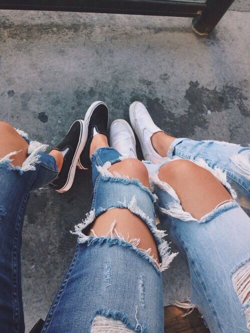 ripped jeans and slip,ons