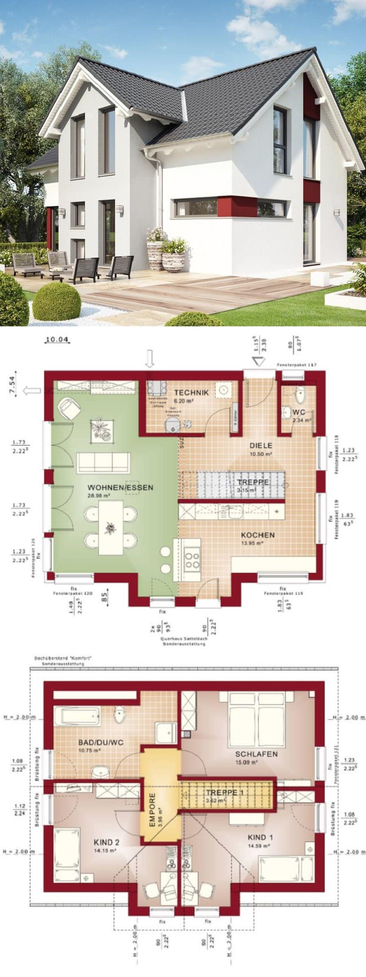 Modernes Haus klassisch mit Satteldach Architektur & Querhaus ...