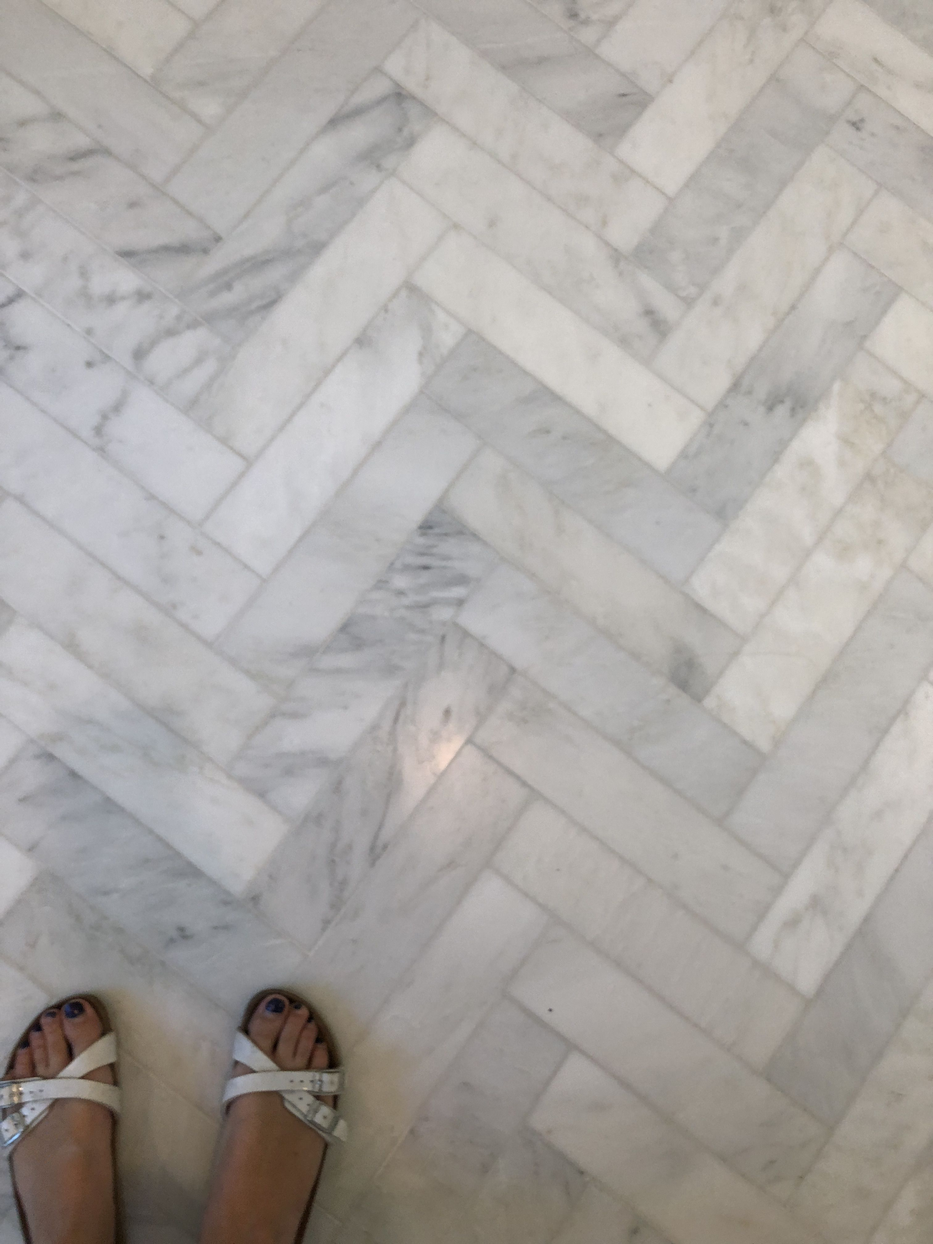 Harringbone Carrara Marble Floor Tile Apron 3 X 10 Main