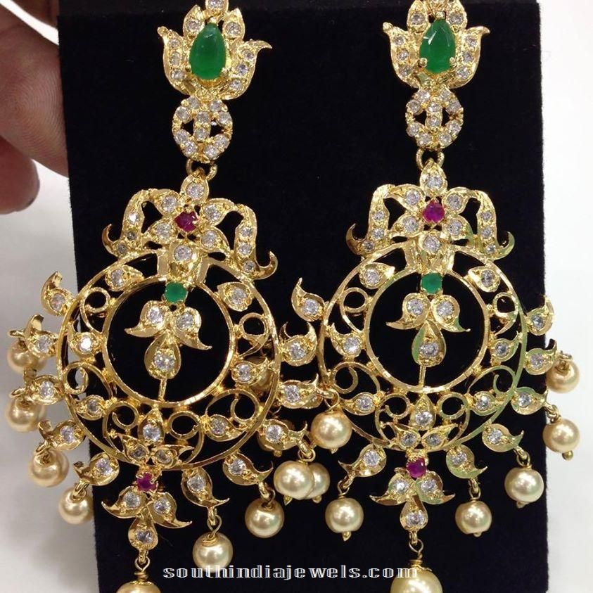 Latest Indian Jewellery Designs 2015: Imitation CZ Stone Earrings Latest Design 2015