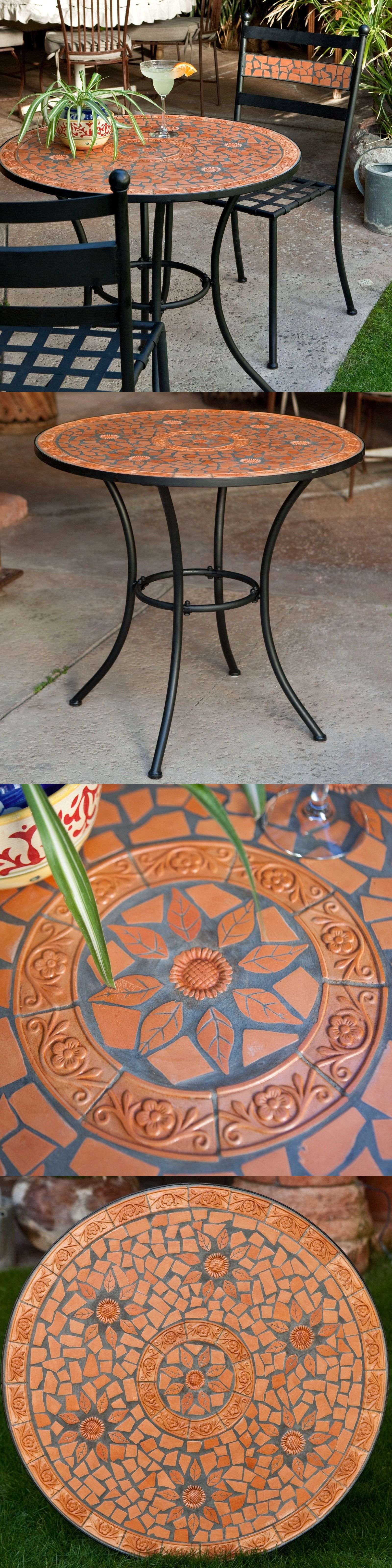 Tables 112590: Patio Bistro Table Mosaic Round Terracotta Iron Deck Yard  Furniture Dining  U003e