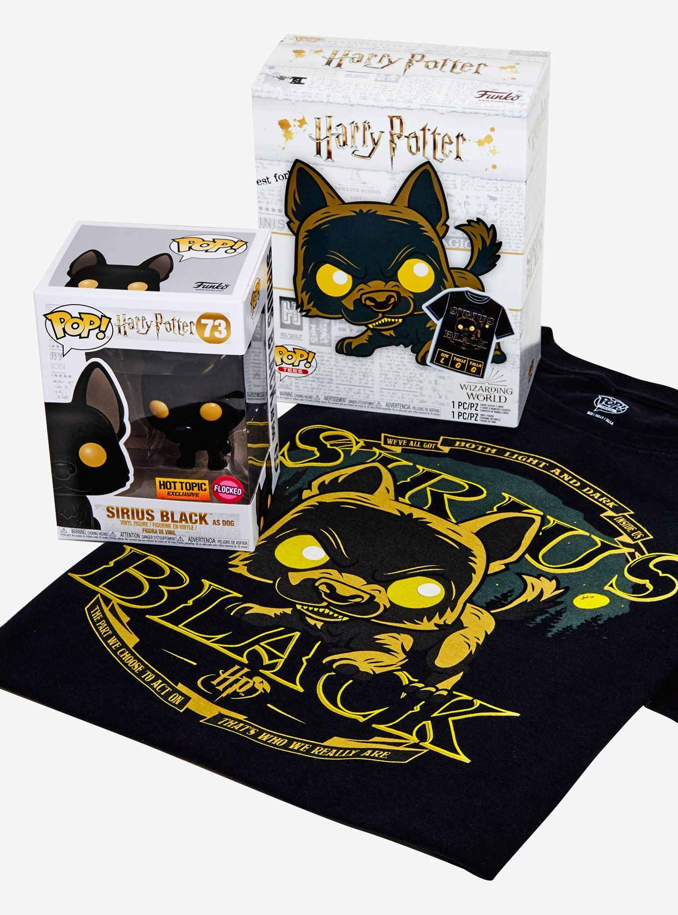 Funko Harry Potter Pop Tees Sirius Black As Dog Flocked Vinyl Figure T Shirt Box Set Hot Topic Exclusive Sirius Black Harry Potter Sirius Sirius Black Dog