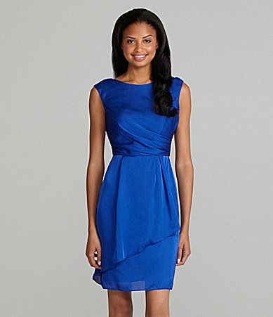 Royal Blue Vince Camuto Sleeveless Draped Overlay Dress