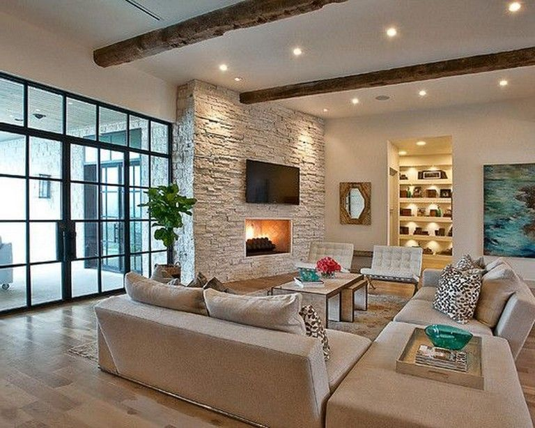 45 Attractive Modern Mediterranean Living Room Decorations Mediterranean Living Rooms Feature Wall Living Room Living Room Modern #stone #wall #living #room #ideas