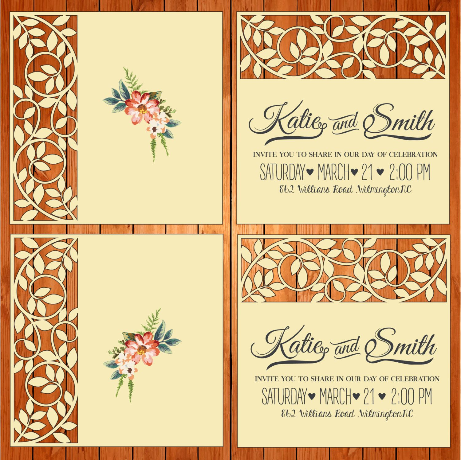 Wedding card invitation template figures leaves studio V3 svg