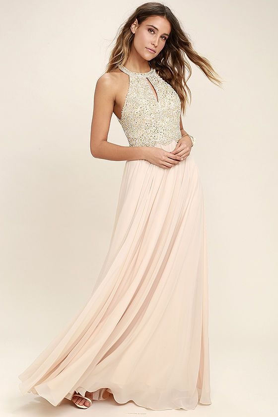 c3ece47c18b7 Make a stunning debut in the Principessa Blush Beaded Maxi Dress! A halter  neckline (with clasp closures) tops a dazzling beaded bodice