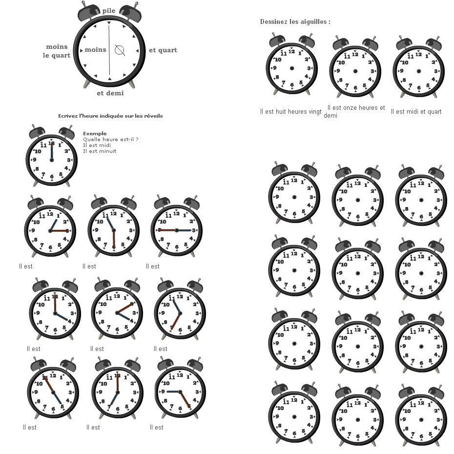 Les heures et r veils pour apprendre le fran ais fle exercices retrouver sur - Meteo vincennes heure par heure ...
