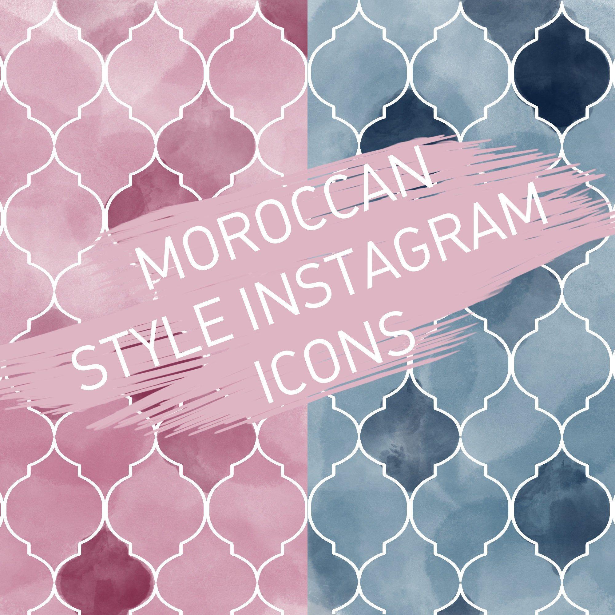 Moroccan Pattern Instagram Social Media Highlight Story Icons Pink Blue Moroccan Pattern Instagram Icons Social Media Instagram
