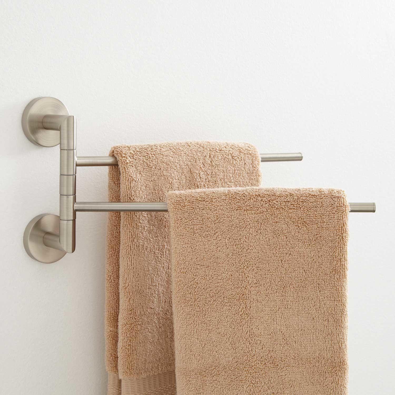 Colvin Double Swing Arm Towel Bar Towel Holders Bathroom Accessories Bathroom Towel Bar Towel Rack