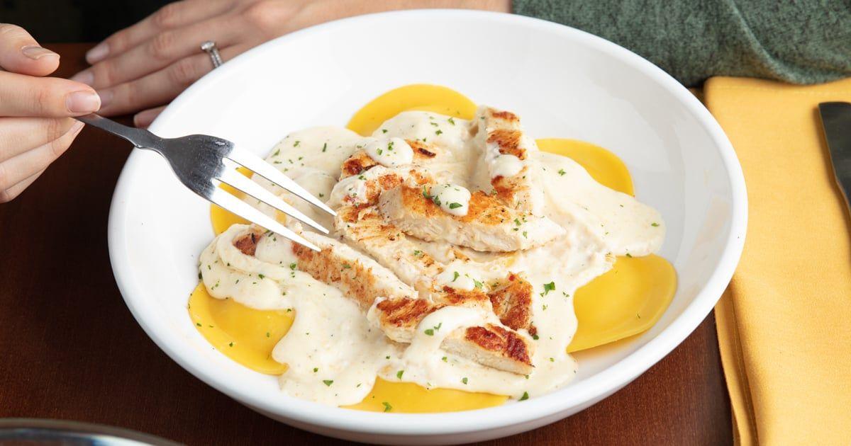 Mushroom Ravioli With Grilled Chicken and Alfredo Sauce
