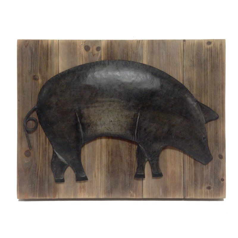 Alexander Metal Pig On Barnboard Wall Art Panel Panel Wall Art Panel Art Wood Pig