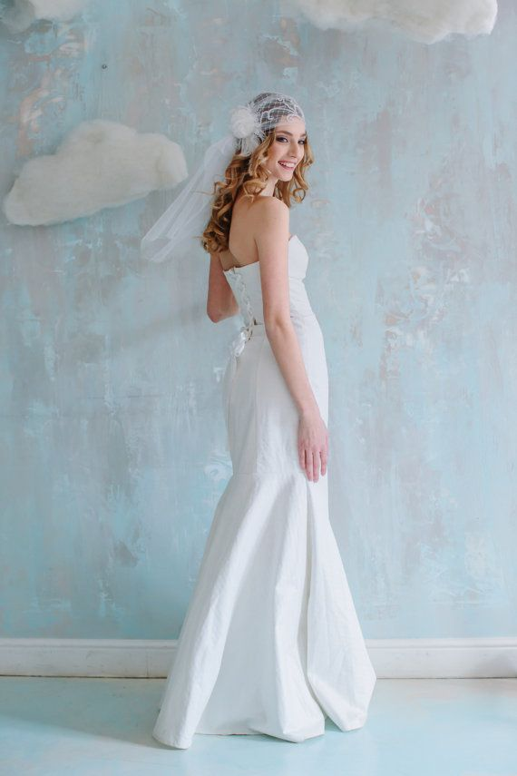 Elegant ivory-colored wedding dress floor length, mermaid shape, strapless, with the ribbon lacing on the back and a lace tippet. $450 click on the picture to buy it now  #wedding #goroshin #dress #bride #weddingdress
