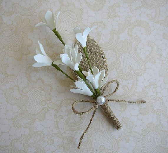White Wedding Boutinniere, Burlap Flower Pin, Rustic Wedding Corsage, Brooch Boutonniere, White Corsage Pin, Fall Lapel Pin, Groomsmen