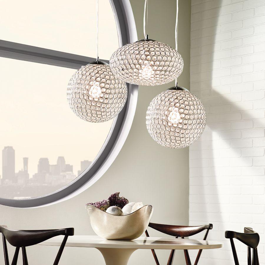 kichler lighting krystal ice w chrome crystal pendant light with crystal shade for over. Black Bedroom Furniture Sets. Home Design Ideas