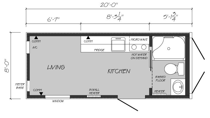 One Bedroom, One Bath Shipping Container Home Floor Plan