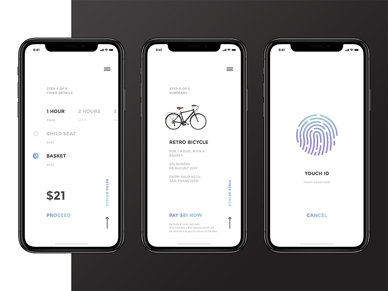 Minimal Bike Rental App App Design Mobile App Design