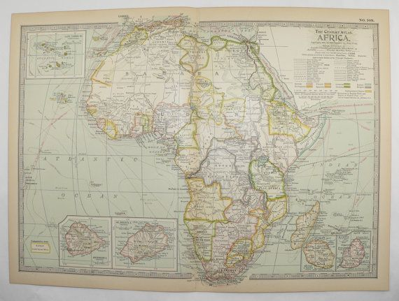 antique africa map vintage map of africa 1899 travel map unique