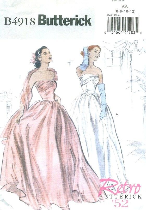 1950s Inspired Misses Evening Gown Sewing Pattern, Strapless, Prom ...