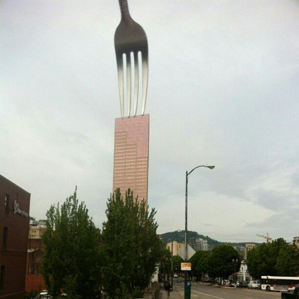 "Forking US Bancop Tower, aka ""Big Pink"", Portland's second tallest building. #ForkPortland"