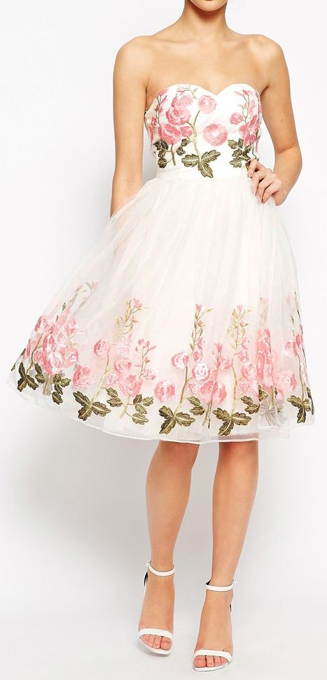 Rose embroidered tulle dress