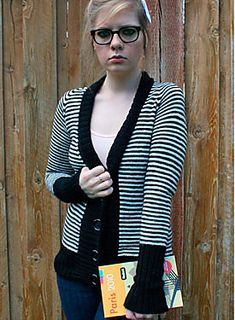 The Lydia Cardigan is a v-neck, longer-length, narrow stripe cardigan with exaggerated ribbing trim and a collar that stands up or folds down. It is knit in one piece with raglan shaping and the sleeves are knit in the round to eliminate seaming. The Lydia Cardigan is inspired by one of my favorite movies, Beetlejuice.