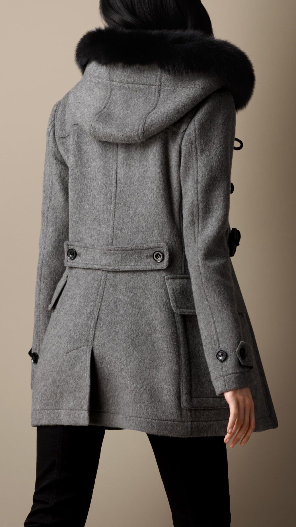 Women's Clothing | Duffle coat, Fur trim and Fur
