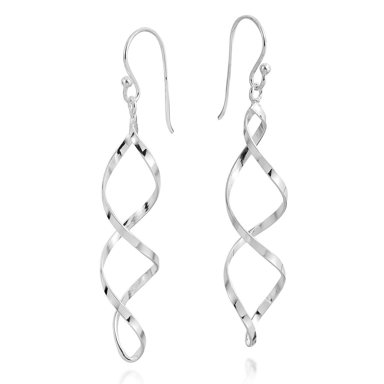 Sterling Silver Long Spiral Twist Drop Earrings