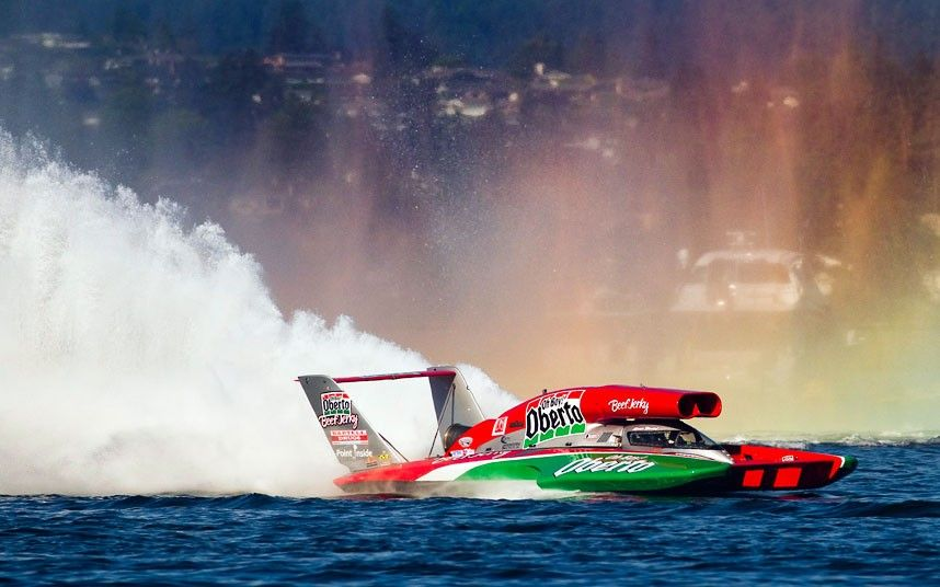 Steve David, in the Oh Boy! Oberto boat, crosses the finish line in the Unlimited Hydroplane final in the US Air National Guard Hydroplane Series in Seattle