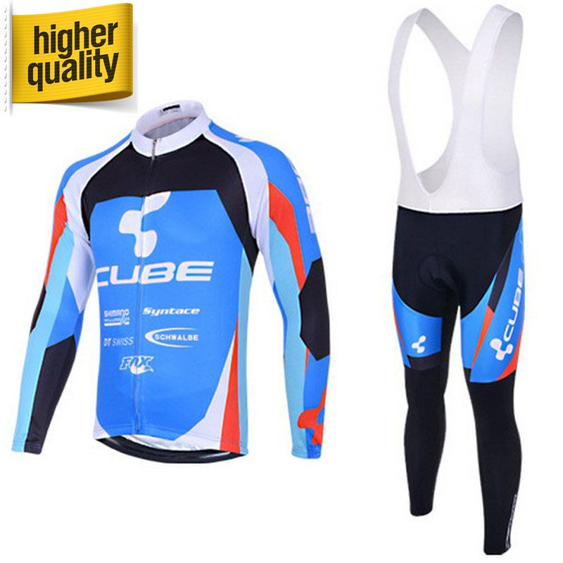 Hot Selling CUBE Men s Autumn Pro Team Cycling Wear Clothing Sets Long  Sleeve Bicycle Bike Jersey c98cbe0a1