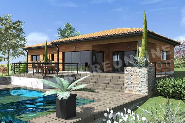modele de maison moderne AUTAN perspective piscine terrasse maison - facade de maison moderne