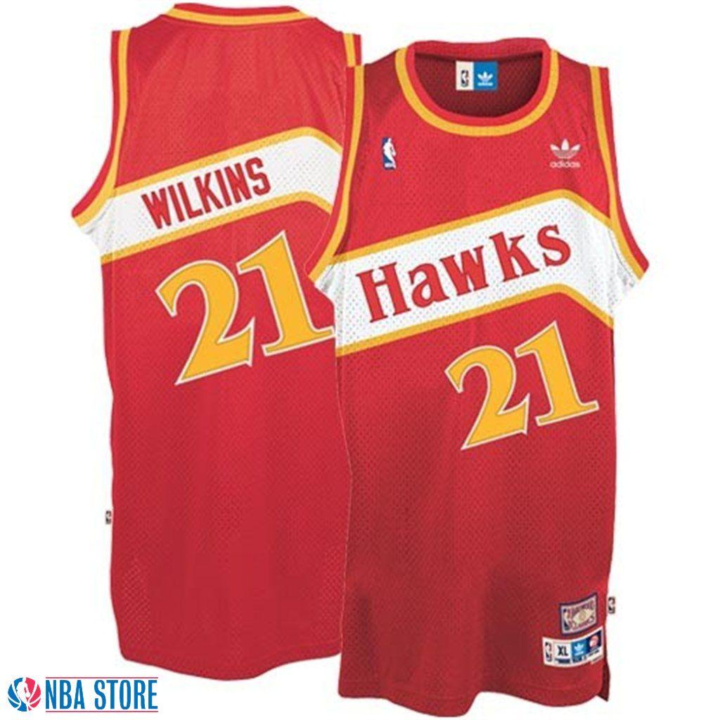 Atlanta Hawks #21 Dominique Wilkins Red Hardwood Classics Swingman Throwback  Jersey