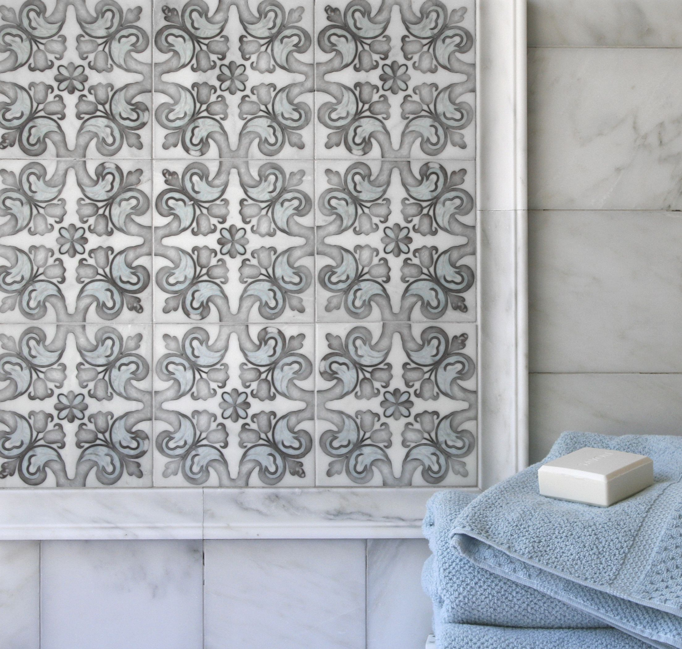 Natural stone bathroom tiles 25 off marshalls natural stone tiles - Marbella Pattern Part Of The Artisan Stone Tile Collection Available On Carrara And Ready